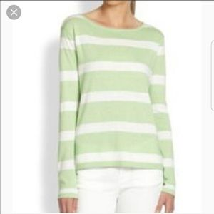 Joie Mint and White Stripe Cotton/Silk/Cashmere